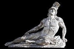 Achilles statue from Achilleion palace at Corfu. Achilles statue ready cropped on black background Stock Images