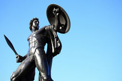 Achilles. The Victorian bronze Achilles statue known as the Wellington Monument at Hyde Park Corner, London, England,UK, which was sculpted by Richard Westmacott Stock Photo