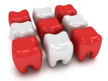 Aching and healthy teeth Stock Photo