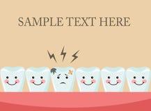 Aching tooth among healthy teeth Stock Photo