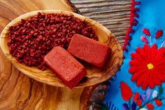 Achiote调味料绛珠子种子普遍的墨西哥 图库摄影
