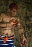 Achiote-Frisur indischen Stammes Mann Los Tsachila, Ecuador Lizenzfreies Stockbild