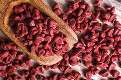 Achiote-Samen benutzt für natürlichen Farbton Stockbild