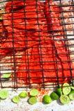 Achiote und gegrilltes Fischfilet der Zitrone Soße Lizenzfreie Stockbilder