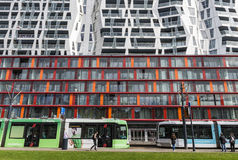 Achitectural Building Tram Rotterdam Royalty Free Stock Photo