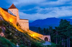 Achitectural detail of Rasnov fortress royalty free stock images