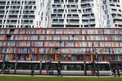 Achitectural som bygger RET-spårvagnen Rotterdam Arkivfoto