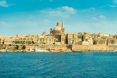 Achitecture bonito de Valletta, vista do mar Imagens de Stock