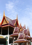 Achitecture building of ancient wooden roof temple in Thailand. With fine wooden carving royalty free stock photo