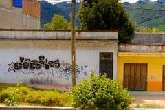 Achitecture of the Chiapas state, Mexico. SAN CRISTOBAL DE LAS CASAS, MEXICO - NOV 1, 2016: Colorful architecture of San Cristobal de las Casas, town located in royalty free stock photos