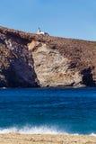 Achla-Strand Leuchtturm Stockfoto
