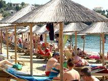 Achladia-Strand, Skiathos, Griechenland Stockfotos