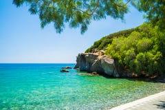 Achlia海滩,克利特,希腊 免版税图库摄影