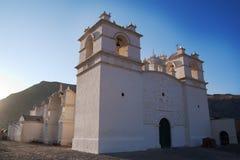 Achoma Kirche im Colca Tal Stockfotografie