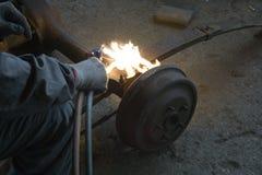 Achse Burning Stockbild