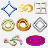 Acht 3D Emblemen Stock Fotografie