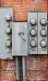 Acht alte Leistungmeßinstrumente Stockbilder