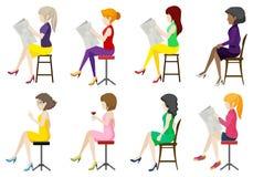 Acht anonieme dames die gaan zitten Stock Fotografie