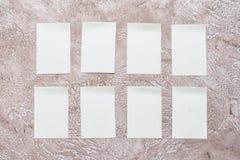 Acht Aufkleber des leeren Papiers Lizenzfreie Stockfotografie