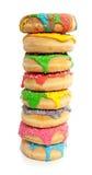 Acht bunte vertikale Schaumgummiringe Lizenzfreies Stockbild