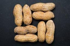 Acht Erdnüsse im quadratischen Muster auf einer schwarzen Oberfläche Stockfotografie