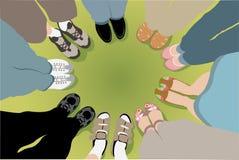 Acht Freunde stehen im Kreis stock abbildung
