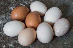Acht frische Hühnereien auf einem alten hölzernen Hintergrund Stockfotografie
