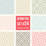 Acht geometrische patronen in het watteren stijl Stock Fotografie