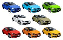 Acht geplaatste auto's, Volkswagen Scirocco Stock Foto's