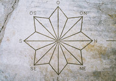 Acht gezeigter Stern und Kardinalpunkte Stockbilder