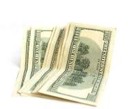 Acht hundert Dollarscheine auf Weiß Lizenzfreie Stockbilder