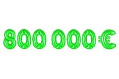 Acht hundert tausend Euros, grüne Farbe Stockfotos