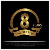 Acht jaar verjaardags gouden het ontwerp van het verjaardagsmalplaatje voor Web, spel, Creatieve affiche, boekje, pamflet, vliege stock illustratie