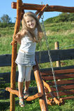 Acht Jahre alte Mädchen Stockbild