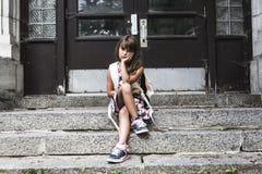 Acht Jahre alte Schulmädchen Lizenzfreie Stockfotos