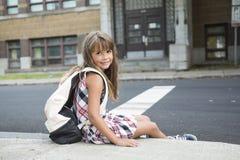 Acht Jahre alte Schulmädchen Stockfoto
