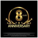 Acht Jahre Jahrestag golden Jahrestagsschablonenentwurf für Netz, Spiel, kreatives Plakat, Broschüre, Broschüre, Flieger, Zeitsch lizenzfreie abbildung