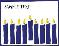 Acht Kaarsen in Hannakuh-Kleuren met Zaal voor Tekst stock afbeeldingen