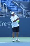 Acht keer Grote Slagkampioen Ivan Lendl die twee keer Grote Slagkampioen Andy Murray voor US Open 2013 trainen Stock Foto