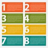 Acht kleurrijk tekstvakje met stappen voor informatiegrafiek Stock Afbeelding