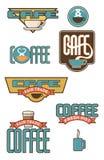 Acht Koffie en Koffieemblemen Stock Foto's