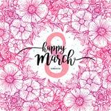 Acht März-Frauen ` s Tagesgrußkartenschablone, runder Kranz blüht Rahmen Vektorillustration, Gestaltungselement Lizenzfreie Stockfotos
