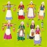 Acht Meisjes het Melken stock illustratie