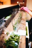 Acht Mojito-cocktails op de barteller stock foto's
