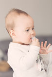 Acht Monate alte Baby, die ihren Friedensstifter zu ihrem Mund holen Stockfoto