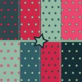 Acht patronen met sterren Royalty-vrije Stock Afbeelding