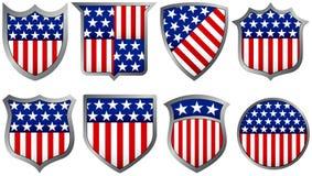 Acht rote weiße und blaue Schilder Lizenzfreie Stockfotos