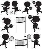 Acht sportive Kinderschwarze Schattenbilder Stockfoto