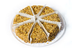 Acht Stück des Kuchens mit Walnüssen. Lizenzfreies Stockfoto
