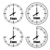 Acht Urenklok op witte achtergrond De klok van acht o ` royalty-vrije illustratie